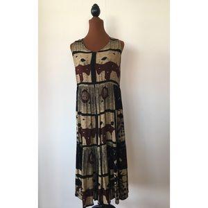 Bila Sleeveless Brown and Black Dress